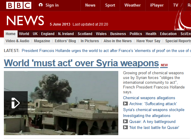 BBC News homepage headline - World 'must act' over Syria weapons